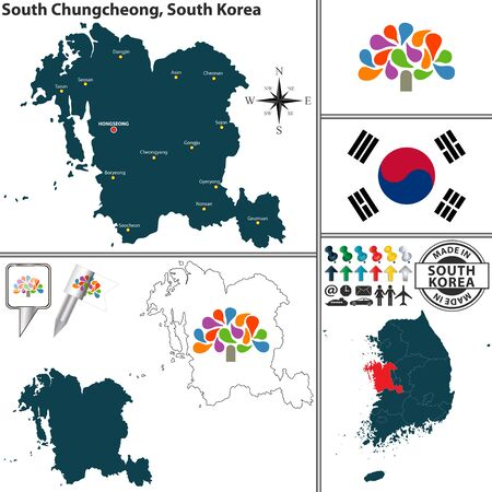 Vector map of province of north chungcheong with flags and location vector map of province of south chungcheong with flags and location on south korean map vector gumiabroncs Image collections