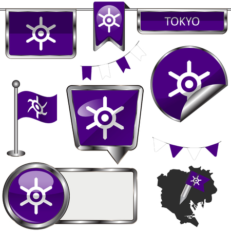 Vector glossy icons of flag of Tokyo on white Illustration