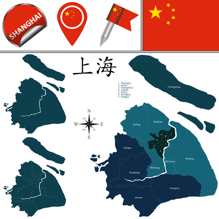 Vector map of Shanghai with named districts and travel icons. There are chinese characters in a set - it means Shanghai