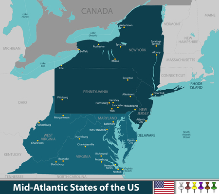 Vector map of Mid Atlantic states of the United States with neighboring states Иллюстрация