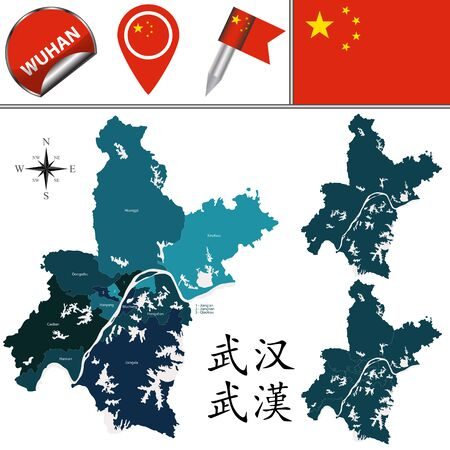Vector map of Wuhan with named divisions and travel icons. There are chinese characters in a set - it means Wuhan Çizim