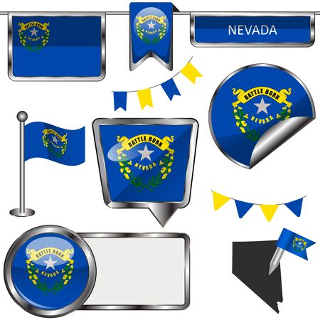 Glossy icons of state flag illustration. Ilustrace