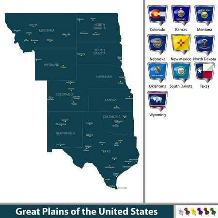 Set of Great Plains of the United States with flags and map. Illustration