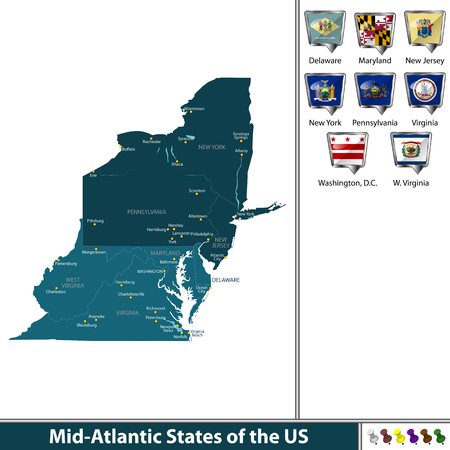 Set of Mid Atlantic states of the United States with flags and map.