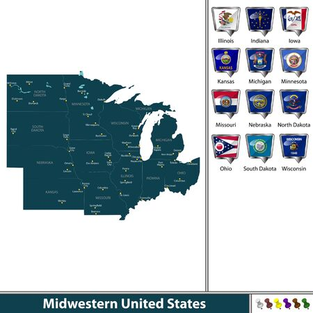 Set of Midwestern United States with flags and map. Illustration
