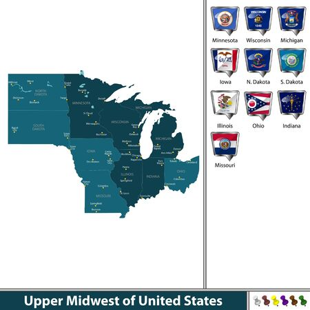 Set of Upper Midwest of United States with flags and map.