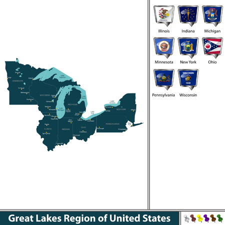 A Vector set of Great Lakes region of United States with flags and map on white background
