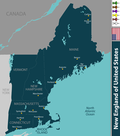 A Vector set of New England of United States with neighboring states 일러스트