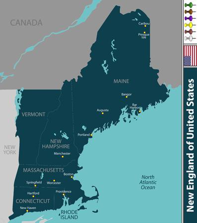 Een vectorreeks van New England van Verenigde Staten met naburige staten
