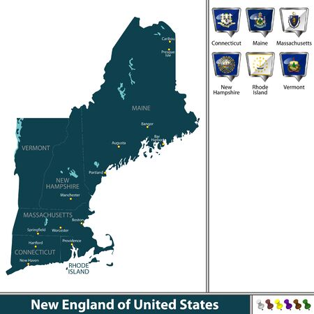 A Vector set of New England of United States with flags and map on white background