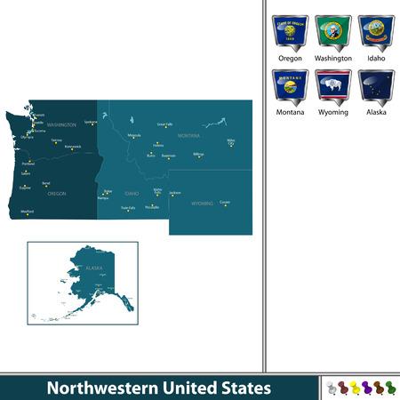 흰색 배경에 플래그와지도 함께 미국 북서부의 벡터 집합 일러스트