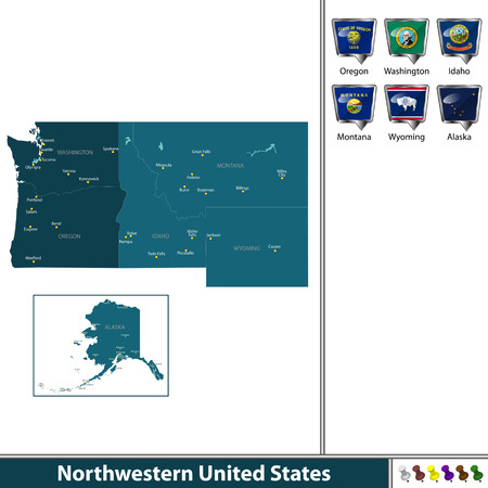A Vector set of Northwestern of United States with flags and map on white background
