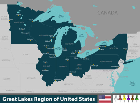 A Vector set of Great Lakes region of United States with neighboring states 向量圖像