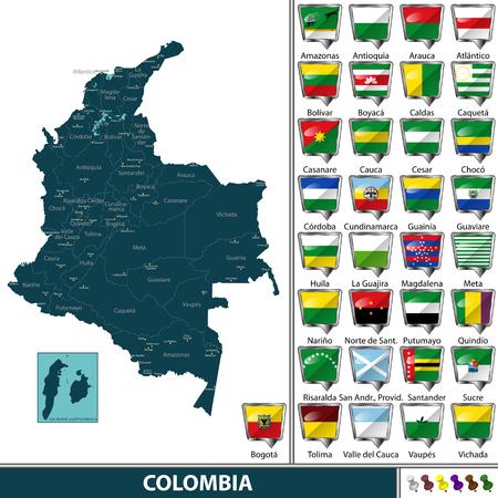 Vectorkaart van Colombia met genoemde afdelingen en vlaggen