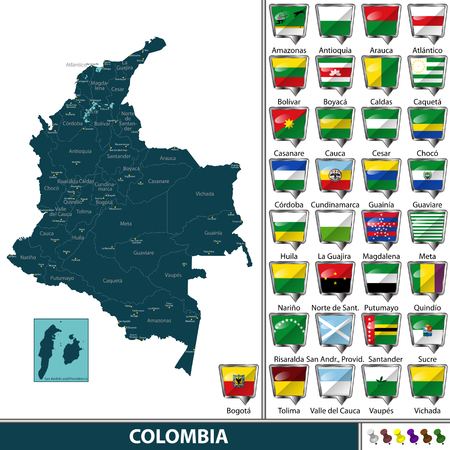 Vector map of Colombia with named departments and flags Illustration