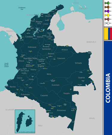 Vector map of Colombia with neighboring countries