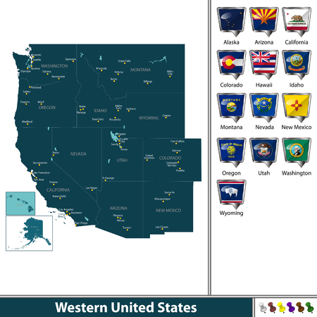 Vector set of Western United States with flags and map on white background 版權商用圖片 - 89317956