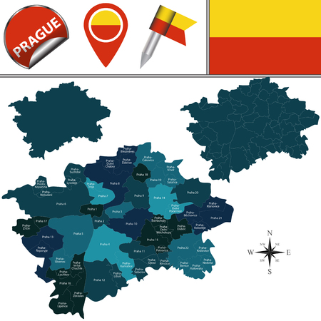 Vector map of Prague with named administrative districts and travel icons Ilustrace