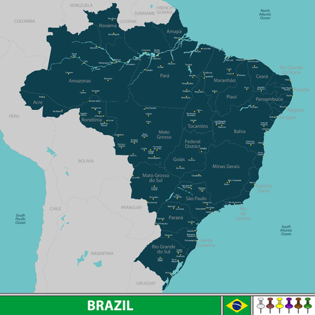 Vector map of Brazil with neighboring countries