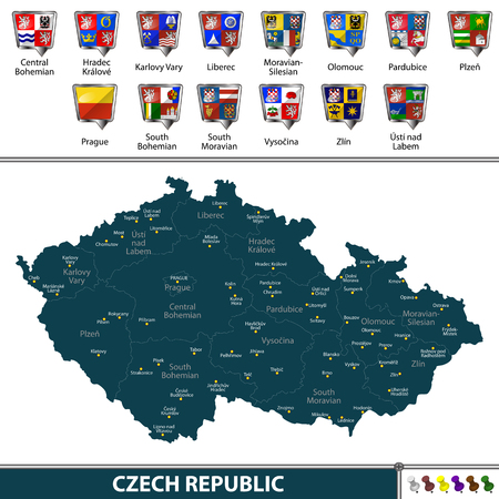 Vector map of Czech Republic with neighboring countries