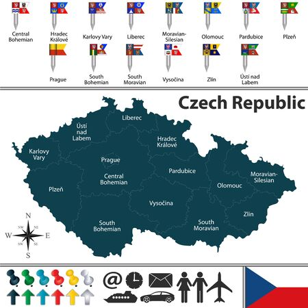 Vector map of Czech Republic with regions and flags Ilustrace