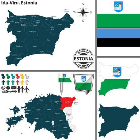 Vector map of Ida Viru region and location on Estonian map Ilustração