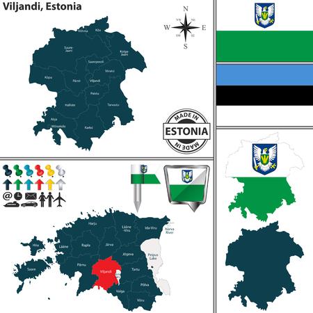 ヴィルジャンディ地域のベクトルマップとエストニアの地図上の位置