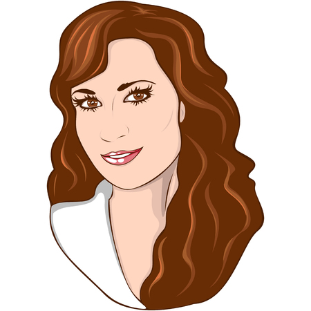 Vector of beauty woman portrait with long dark hair Illustration