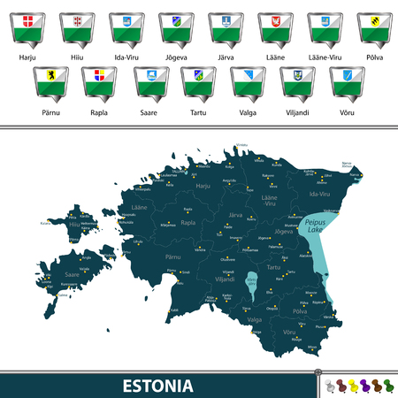 Vector map of Estonia with regions flags