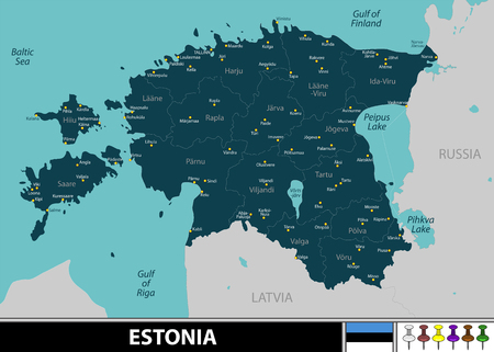 Vector map of Estonia with neighboring countries