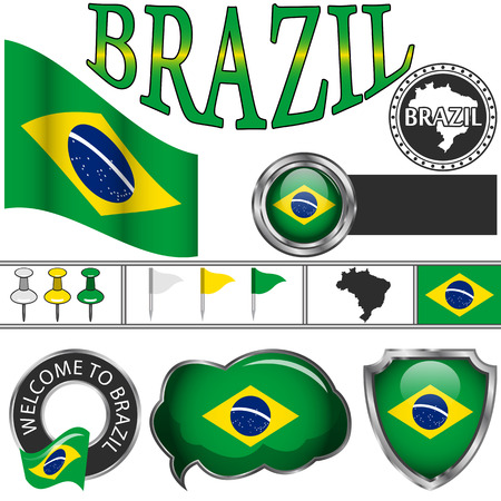 Vector glossy icons of flag of Brazil on white