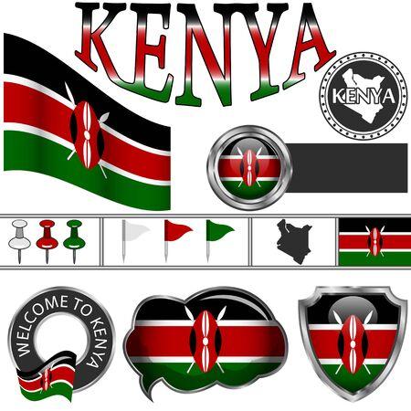 Vector glossy icons of flag of Kenya on white 일러스트