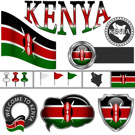 Vector glossy icons of flag of Kenya on white Ilustrace