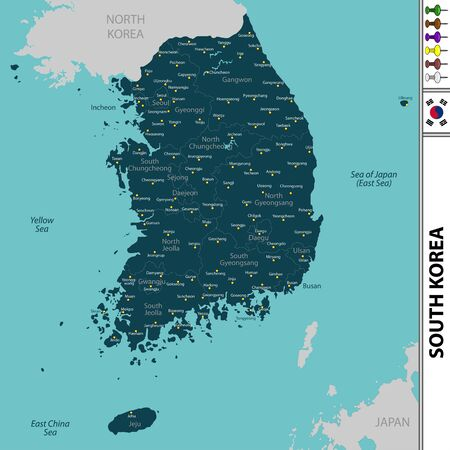 Vector map of South Korea with neighboring countries