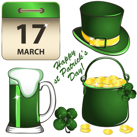 Vector of St Patricks Day set with calendar, Leprechaun hat, green beer, pot of gold and four leaf clover