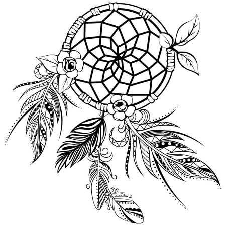 Vector of dream catcher with feathers in boho style