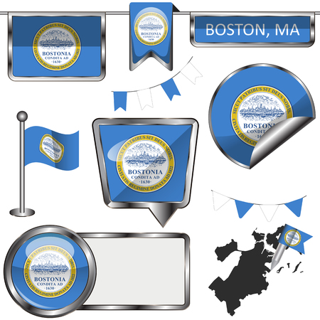 Vector glossy icons of flag of Boston on white