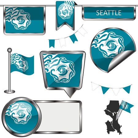Vector glossy icons of flag of Seattle on white