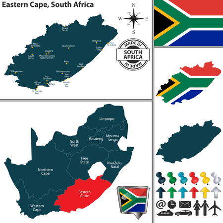 Vector map of Eastern Cape province and location on South African map