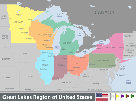 Vector set of Great Lakes region of United States with neighboring states