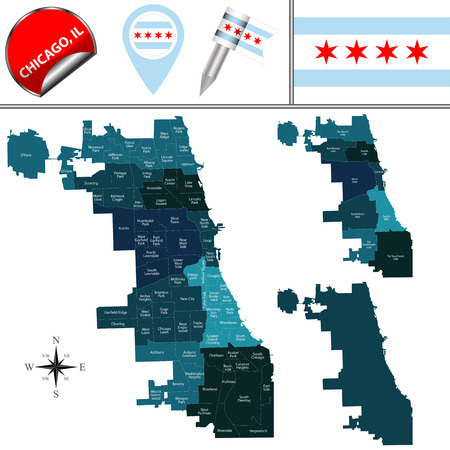 Vector map of Chicago with named community areas and travel icons