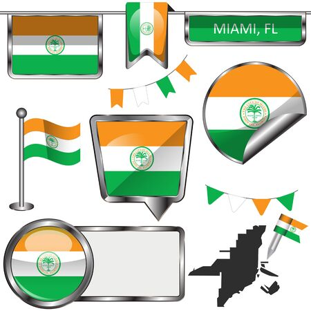 Vector glossy icons of flag of Miami on white background