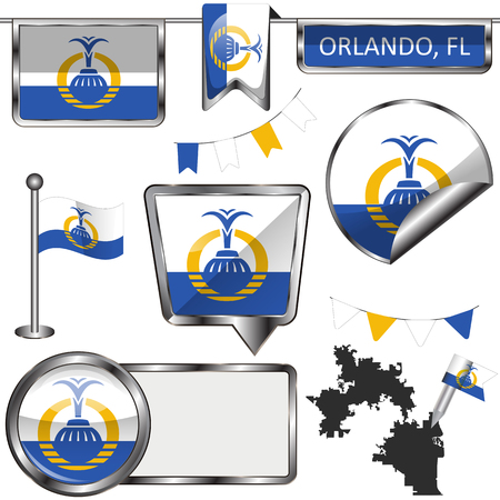 Vector glossy icons of flag of Orlando on white background