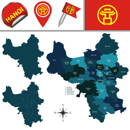 Vector map of Hanoi with named divisions and travel icons
