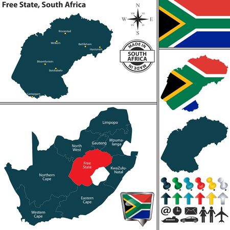 Vector map of Free State province and location on South African map Illustration