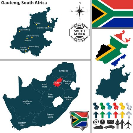 Vector map of Gauteng province and location on South African map Illustration