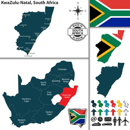 Vector map of KwaZulu Natal province and location on South African map Illustration