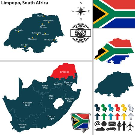 Vector map of Limpopo province and location on South African map Illustration
