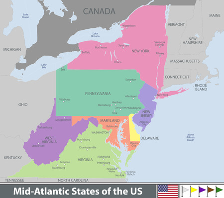 Vector map of Mid Atlantic states of the United States with neighboring states Illustration