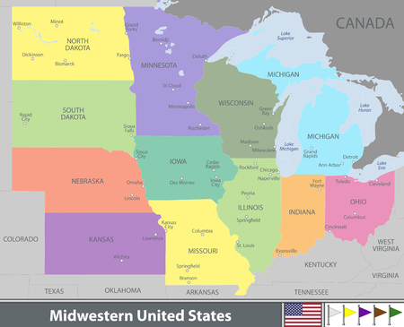 Vector map of Midwestern United States with neighboring states
